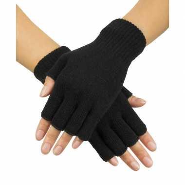 Zwarte handschoenen vingerloos gebreid volwassenen unisex carnavalskleding roosendaal
