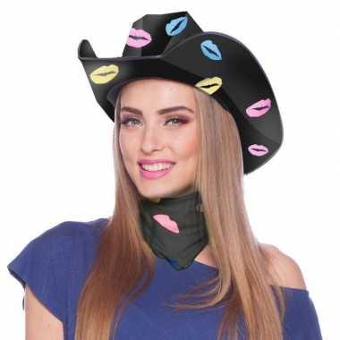 Zwarte kartonnen cowboyhoed lippen/kusjes dames carnavalskleding roos