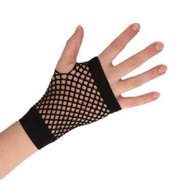 Zwarte korte visnet handschoenen volwassenen carnavalskleding roosend