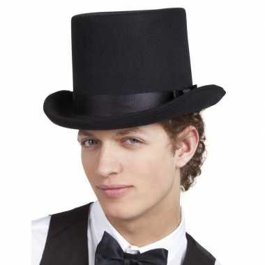 Zwarte luxe hoge hoed heren carnavalskleding roosendaal