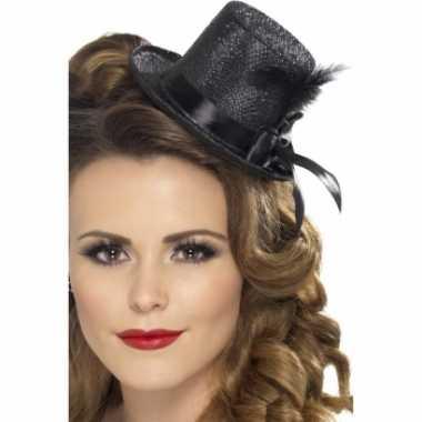 Carnavalskleding zwarte mini hoge hoed veer roosendaal