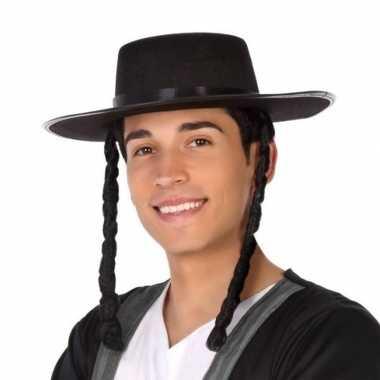 Zwarte orthodoxe jood verkleed hoed heren carnavalskleding roosendaal