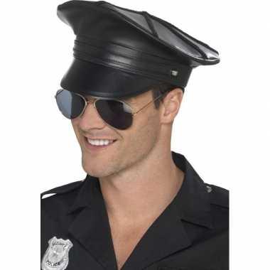 Zwarte politiepet lederlook heren carnavalskleding roosendaal