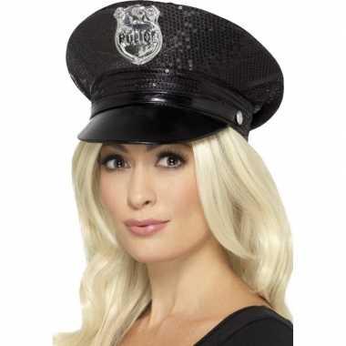 Zwarte politiepet pailletten dames carnavalskleding roosendaal