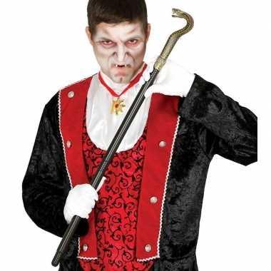 Zwarte vampier/dracula wandelstok slang carnavalskleding roosendaal