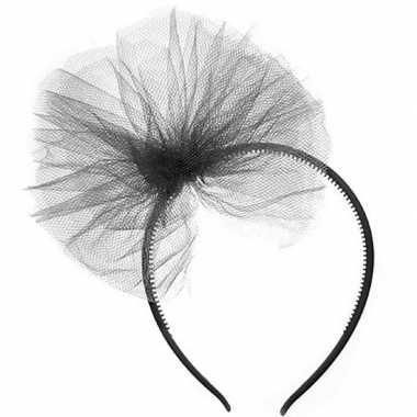 Zwarte verkleed diadeem tule strik meisjes carnavalskleding roosendaa