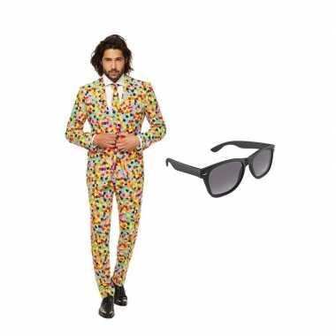 Confetti print heren carnavalskleding maat (xxl) gratis zonnebril roo