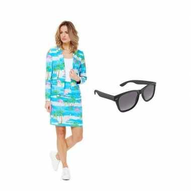 Dames mantelcarnavalskleding flamingo print maat (m) gratis zonnebril