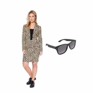 Dames mantelcarnavalskleding luipaard print maat (m) gratis zonnebril
