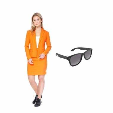 Dames mantelcarnavalskleding oranje maat (m) gratis zonnebril roosend