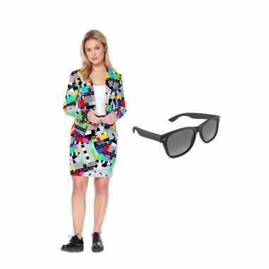 Dames mantelcarnavalskleding testbeeld print (xs) gratis zonnebril ro