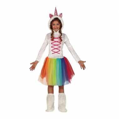 Dierencarnavalskleding eenhoorn jurk wit capuchon meisjes roosendaal