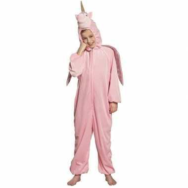 Eenhoorn dieren onesie/carnavalskleding kinderen roze roosendaal