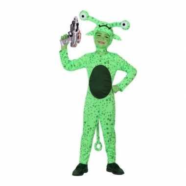 Groen alien carnavalskleding inclusief space gun maat roosendaal