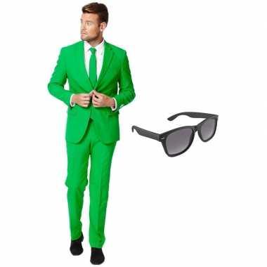 Groen heren carnavalskleding maat xxxl gratis zonnebril roosendaal