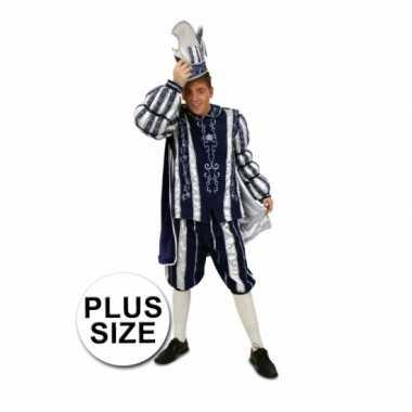 Grote maat prins carnaval carnavalskleding blauw wit roosendaal