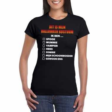 Halloween halloween carnavalskleding lijstje t shirt zwart dames roos