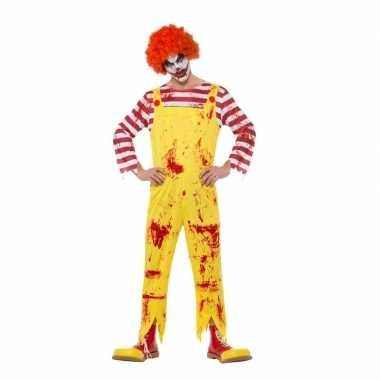 Halloween horror clown carnavalskleding rood/geel heren roosendaal