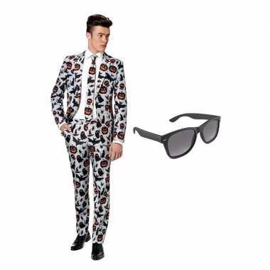 Halloween print heren carnavalskleding maat (xl) gratis zonnebril roo