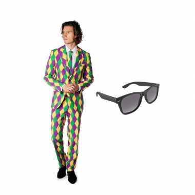 Harlekijn print heren carnavalskleding maat (xl) gratis zonnebril roo