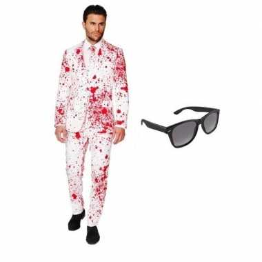 Heren carnavalskleding bloed print maat (l) gratis zonnebri roosendaa