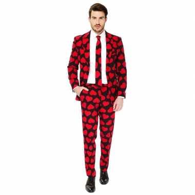 Heren verkleed carnavalskleding/carnavalskleding rode hartjes print r