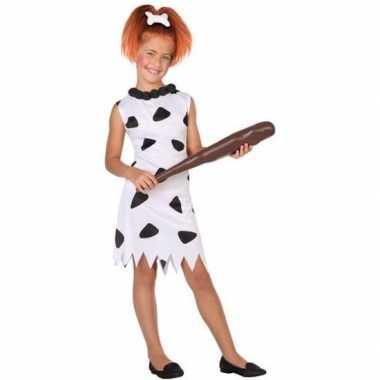 Holbewoonster/cavewoman wilma verkleed carnavalskleding/jurk meisjes