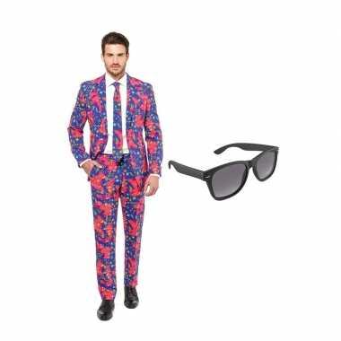 Jaren print heren carnavalskleding maat (xxxl) gratis zonnebril roose