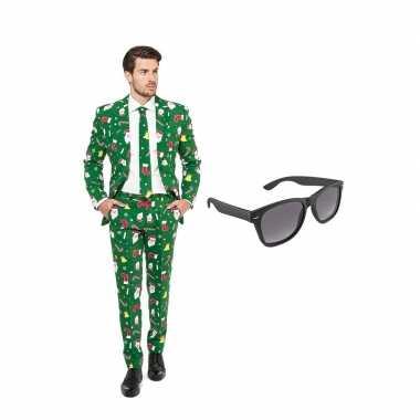 Kerst print heren carnavalskleding maat (xxl) gratis zonnebril roosen