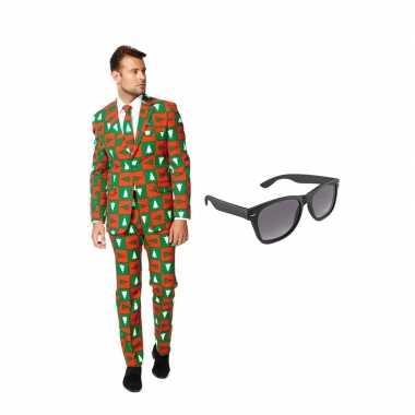 Kerst print heren carnavalskleding maat (xxxl) gratis zonnebril roose