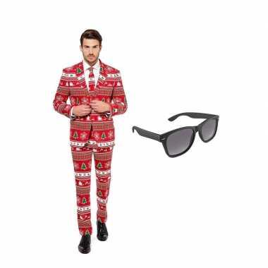 Kerstboom print heren carnavalskleding maat (m) gratis zonnebril roos
