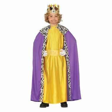 Koning mantel paars geel verkleedcarnavalskleding kinderen roosendaal