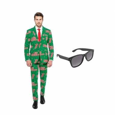 Merry christmas print heren carnavalskleding maat (xl) gratis zonnebr