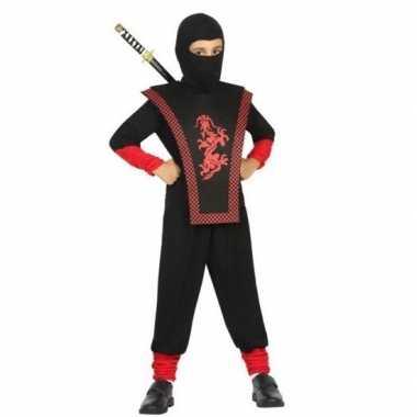 Ninja verkleed carnavalskleding zwart/rood jongens roosendaal