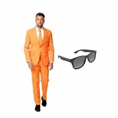 Oranje heren carnavalskleding maat (l) gratis zonnebril roosendaal