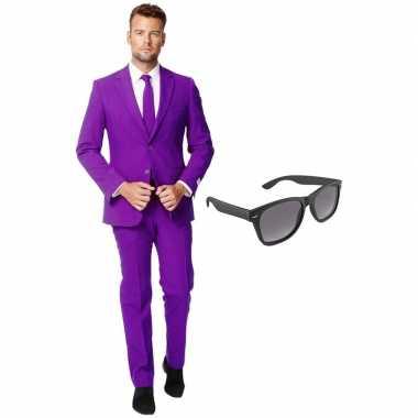 Paars heren carnavalskleding maat (xxxl) gratis zonnebril roosendaal