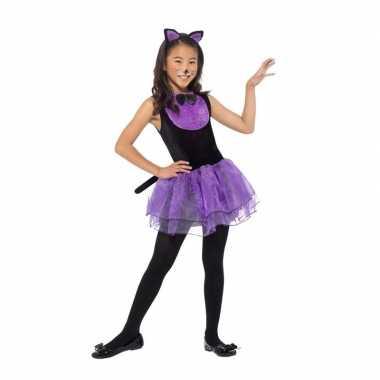 Paars/zwarte kat/poes carnavalskleding meiden roosendaal