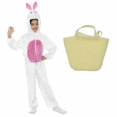 Paashaas carnavalskleding wit maat m paasmandje kinderen roosendaal