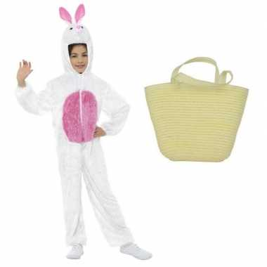 Paashaas carnavalskleding wit maat s paasmandje kinderen roosendaal