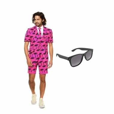Palmbomen zomer heren carnavalskleding maat (xl) gratis zonnebril roo