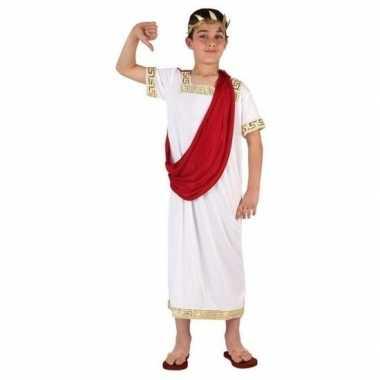 Romeinse toga verkleed carnavalskleding wit/rood jongens roosendaal