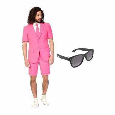 Roze heren zomer carnavalskleding maat (l) gratis zonnebril roosendaa
