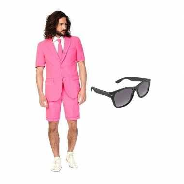 Roze heren zomer carnavalskleding maat (xl) gratis zonnebril roosenda