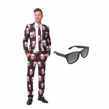 Schedel print heren carnavalskleding maat (s) gratis zonnebril roosen