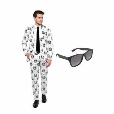 Stormtrooper heren carnavalskleding maat (l) gratis zonnebril roosend