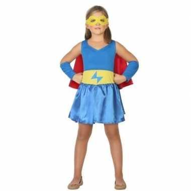 Supergirl jurk/jurkje verkleed carnavalskleding meisjes roosendaal