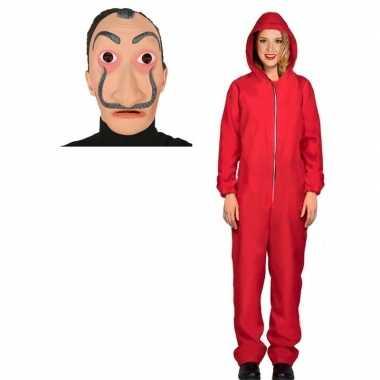 Verkleed carnavalskledingl papel rood maat m dames dali masker roosen