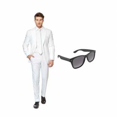 Wit heren carnavalskleding maat (l) gratis zonnebril roosendaal