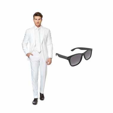 Wit heren carnavalskleding maat (xl) gratis zonnebril roosendaal