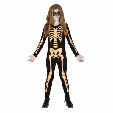 Zwart/oranje skelet verkleedcarnavalskleding kinderen carnavalskledin
